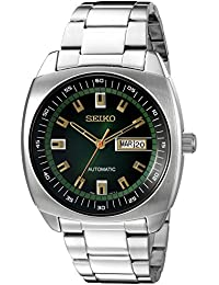 Men's SNKM97 Analog Green Dial Automatic Silver Stainless Steel Watch