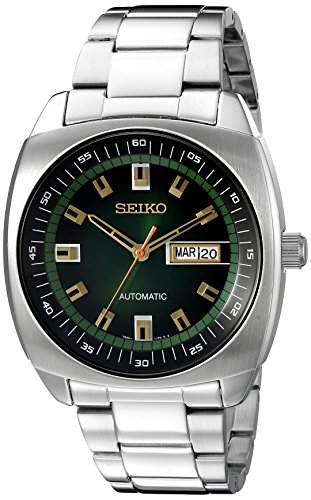 Seiko Men's SNKM97 Analog Green Dial Automatic Silver Stainless Steel - Divers Watch Kinetic