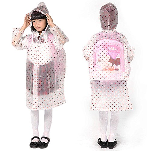 Ezyoutdoor® Child Rain Slicker Poncho Slim Raincoat Rainwear Bicycle Ridding Cape Cycling Bike Rain Cape for Outside Camping Hiking Walking Travel for Kids (pink) with Gift Hat