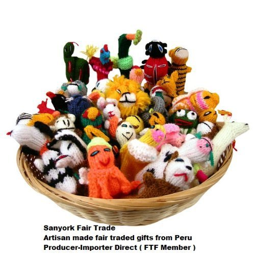 Sanyork Fairly Traded Finger Puppets Set of 10 Assortment Birds, Animals & Insects Peru - Finger Puppet Assortment