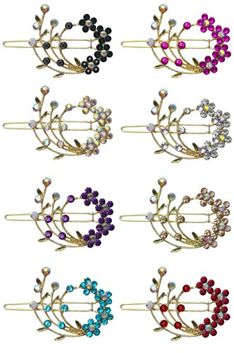 8 Pack - 8 Barrettes with Snap On Clip for Thin Hair or for Young Girls U86200-2108-8 by Bella