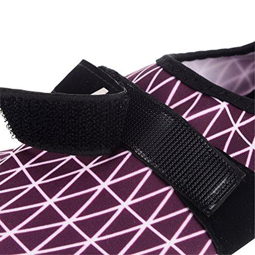 Unisex Durable Sohle Barfuß Quick-Dry Water Skin Schuhe Aqua Socken mit verstellbarer Schnalle für Beach Swim Lila