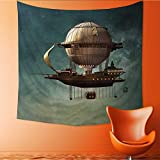 UHOO2018 Wall Tapestry Fantasy Surreal Sky Scenery with Steampunk Airship Fairy Sci Fi Stardust Image Rectangular Home Decorations for Living Room Bedroom 70W x 70L Inch