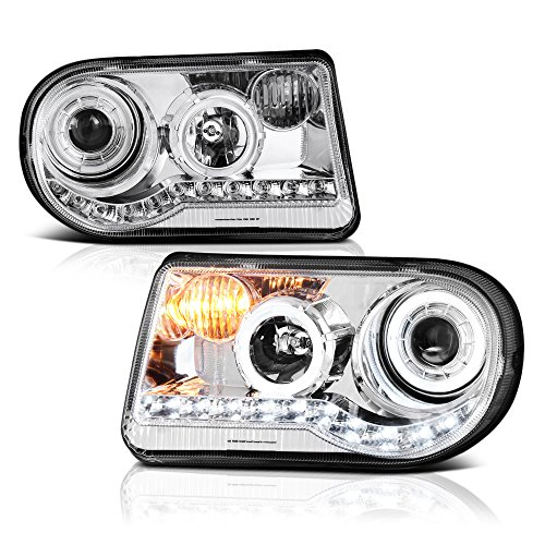 VIPMOTOZ LED Halo Ring Projector Headlight Assembly For 2005-2010 Chrysler 300C (Factory Halogen Model) - Metallic Chrome Housing, Driver and Passenger Side