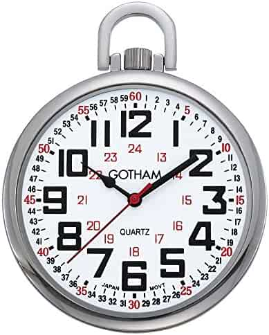 Gotham Men's Silver-Tone Slim Railroad 24 Hour Open Face Quartz Pocket Watch # GWC15029S