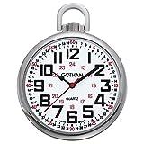 Gotham Men's Silver-Tone Slim Railroad 24 Hour Open Face Quartz Pocket Watch # GWC15029S