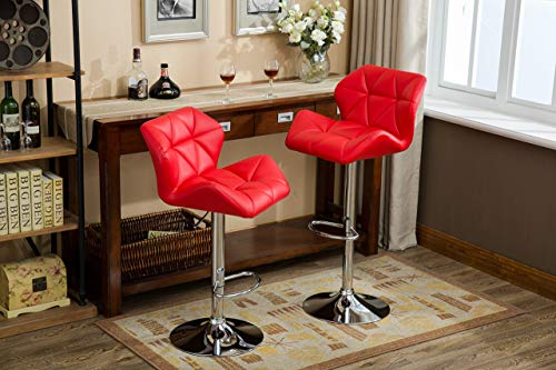 Roundhill Furniture PC190RD Glasgow Contemporary Tufted Adjustable Height Hydraulic Red Bar Stools, Set of 2, (Stools Bar Red)