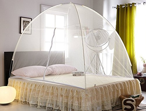 Home Cal Mosquito Net Tent for Bed Encryption Fabric 2 Openings Portable Folding Pop Up Mosquito Net White