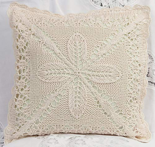 (Creative Linens Cotton Crochet Lace Pillow Cushion COVER 16x16 Ecru)