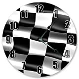 "10.5"" NASCAR RACE FLAG CLOCK - Large 10.5"" Wall Clock - Home Décor Clock"