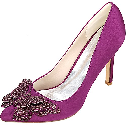 High Cour Stiletto Chaussures Talons Pompes Profonde Mariage Bouche nbsp;Women's MEI Toe Pointy LSM Purple Heels Prom amp;S Peu F4BnHxwf7