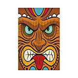 Polyester Garden Flag Outdoor Flag House Flag Banner,Tiki Bar Decor,Cartoon Style Angry Looking Tiki Warrior Mask Colorful Icon Totem Culture Decorative,Multicolor,for Wedding Anniversary Home Outdoor