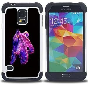 - octopus purple kraken monster diving/ H??brido 3in1 Deluxe Impreso duro Soft Alto Impacto caja de la armadura Defender - SHIMIN CAO - For Samsung Galaxy S5 I9600 G9009 G9008V