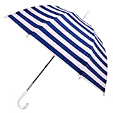 Kung Fu Smith Windproof Bubble Dome Umbrella, Stripe Printed and Transparent Hook Handle