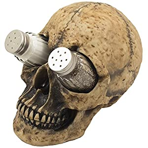Scary Evil Human Skull Salt and Pepper Shaker Set Figurine Display Stand Holder for Spooky Halloween Party Decorations…