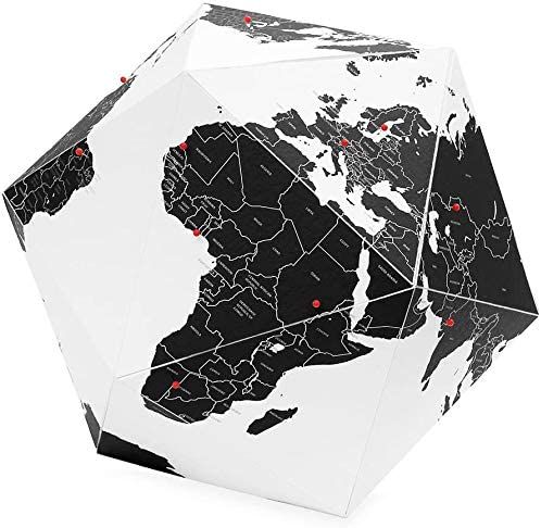 Palomar Foldable Hexagon Globe White and Red with 50 Red Pins Goes by Countries Non-Toxic Inks on Cordenons Wild Paper with 35/% Cotton Small 9.05 Inches
