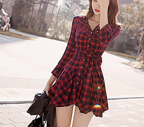 Blusenkleid Minikleid Shirtkleider Kleid Damen Elegant Lange Ärmel Kariertes Drucken Hohe Taille A-Linie Herbst Winter