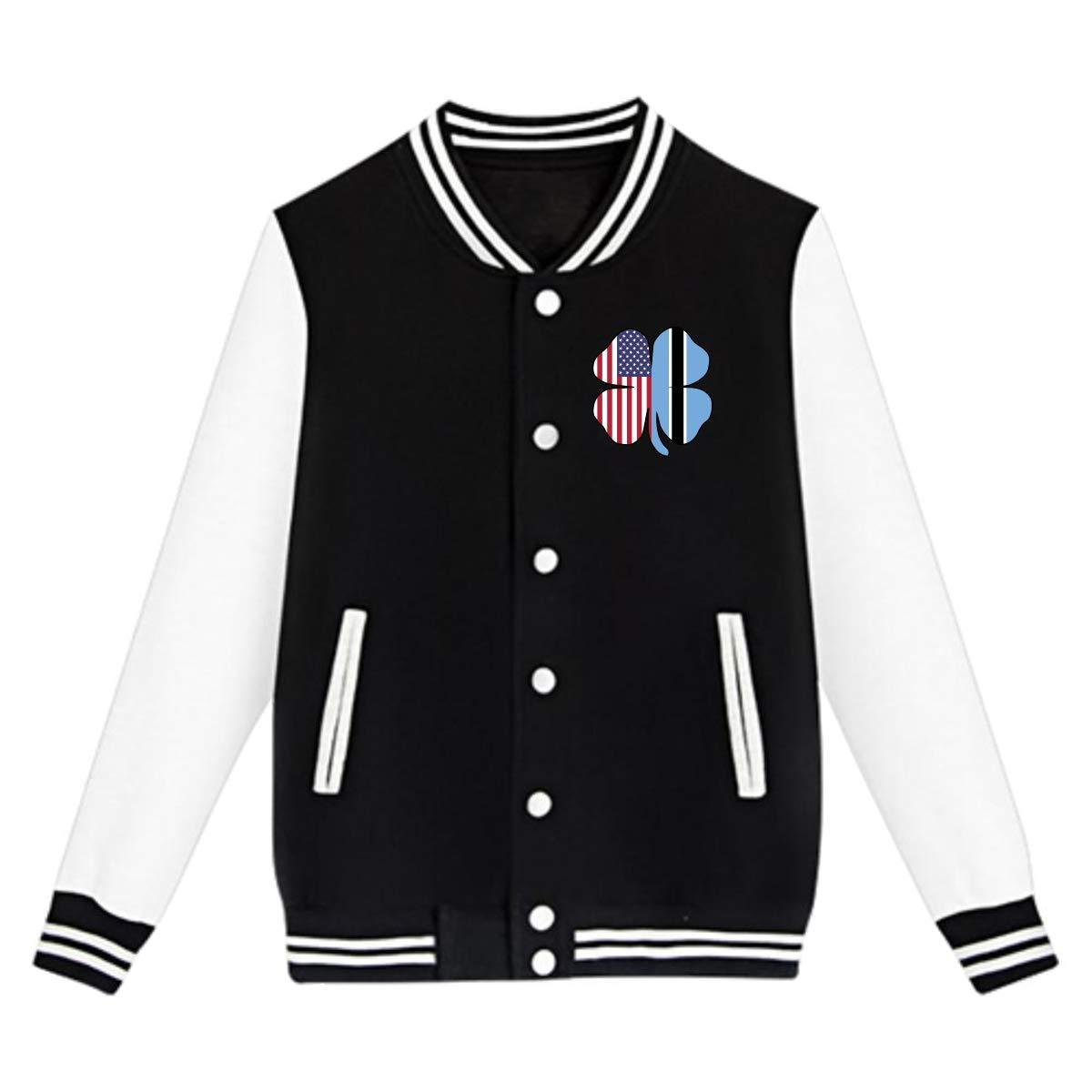 American Botswana Flag Shamrock Coat Sweatshirt Outwear NJKM5MJ Unisex Youth Baseball Uniform Jacket