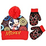 Disney Toddler Boys Mickey Mouse Clubhouse Acrylic Knit Winter Cuffed Beanie Hat With Lurex Pom and Matching Mitten Set, Black/Red, One Size