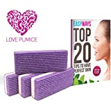 Love Pumice #1 Amazing Pumice Stone (Pack of 4) - Exfoliation Pedicure - Free E-book - Pumice Stone for Feet,Hands and Body - Callus Remover - Treat Your Feet to Some Love Now!!
