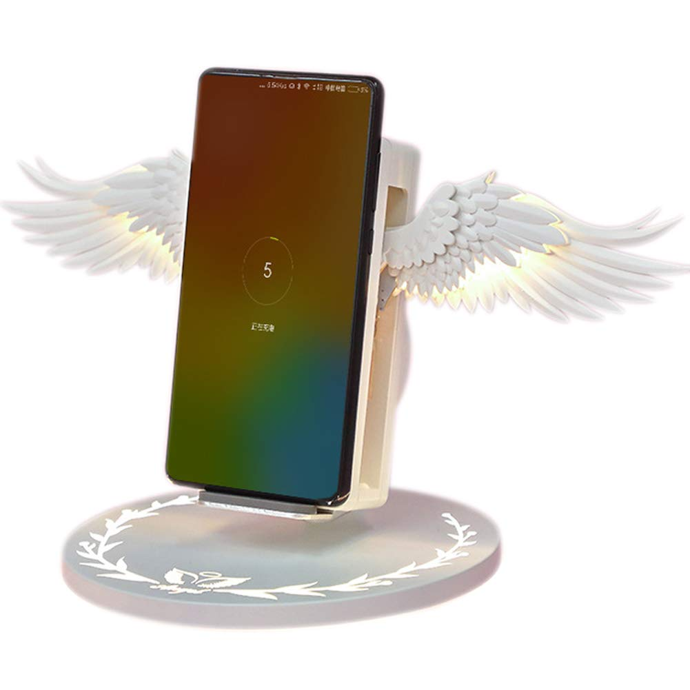 baskciry Wireless Charging Dock 10W Angel Wings Stand Fast Charger for Huawei iPhone Samsung by baskciry