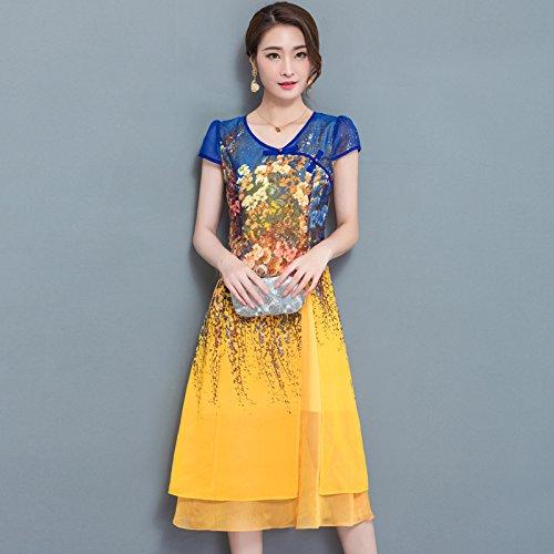 XIU*RONG V Collar Con Manga Corta Vestido Impresión Chiffon Vestido Mama Falda yellow