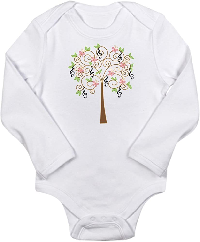 CafePress Music Treble Clef Tree Gift Long Sleeve Infant BOD Cute Long Sleeve Infant Bodysuit Baby Romper Cloud White