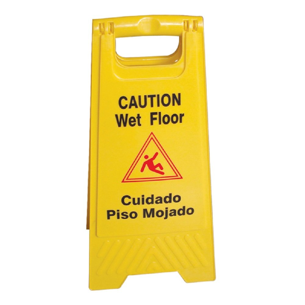 2 PACK CAUTION SIGNS WET FLOOR SIGN YELLOW TWO SIDED EASY TO READ & STORE FOLD UP