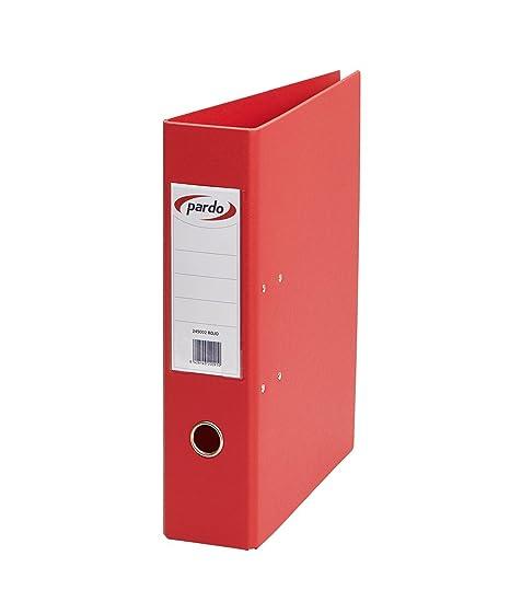 Pardo 248002 - Archivadores plástico, anillas 4/40, tamaño folio, color rojo