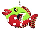 Gatton Green and Red Tropical Fish Ceiling Fan Light Pull Hand Carved Wood