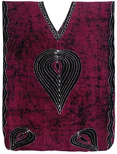 LA LEELA Hand Batik Women's Cotton Plus Cover up Lounge Sleep Night Wear Caftan Dress Kaftan Pink Wear Caftan