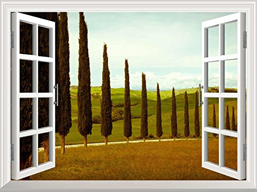 wall26 Removable Wall Sticker / Wall Mural - Tuscan Countryside with Cypress and Meadow | Creative Window View Wall Decor - 24