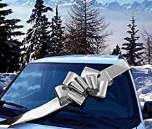 """Big Metallic Silver Car Bow - 25"""" Wide, Large Ribbon Gift Decoration, Fully Assembled, Christmas, Birthday, Fundraiser, Boxing Day, Anniversary"""