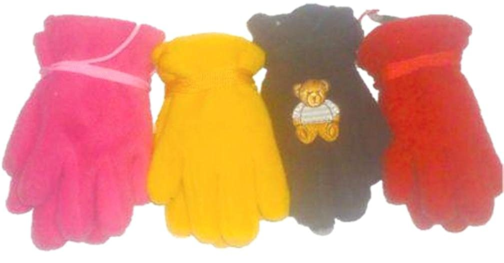 Four Pairs Finest Mongolian Fleece Gloves for Infants Ages 3-12 Months