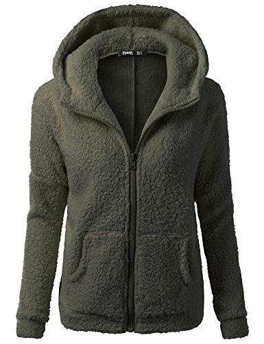 Solid Color Long Size Women Military XL Coat Sleeve COAT DYF Zipper FYM Green Big Pocket Warm Hat IqUX0