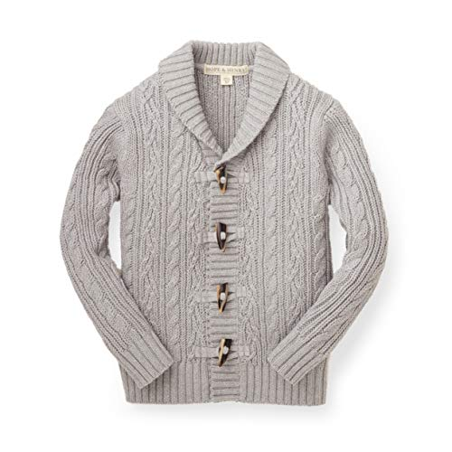 Hope & Henry Boys Grey Shawl Collar Cable - Collar Shawl Sweater Cable