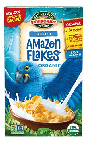Envirokidz Organic Gluten Free Frosted Amazon Flakes, 11.5 Ounce Box (Pack of 6) (Packaging May Vary)