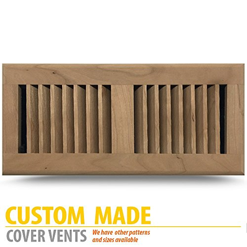CHERRY Louvered Unfinished Wood Floor Register, 6x14Inch (Duct Opening Measurements), classic METAL adjustable damper.