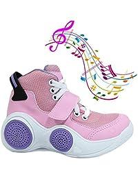 Tenis Musical Infantil Botinho Toca Musica Por Bluetooth - Rosa com Lilas