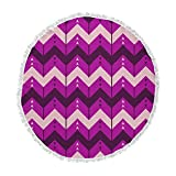 KESS InHouse Nick Atkinson Chevron Dance Purple Round Beach Towel Blanket