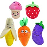 HTKJ Squeaky Dog Toys for Small Dogs, 5pcs Fruits and Vegetables Plush Puppy Dog Toys Review