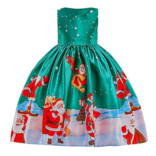 Willsa Baby Girls Dress, Toddler Girls Lace Patchwork Santa Printing Princess Dress Christmas Party Outfits ()