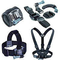 USA Gear Action Camera Mounting Bundle including a Wrist , Helmet , Chest and Head Strap - Works With GoPro HERO5 Black , HERO5 Session , Drift Ghost-S , Contour ROAM3 and More Action Cameras
