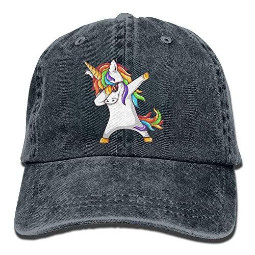 (Men Women Adjustable Yarn-Dyed Denim Baseball Cap Dabbing Unicorn Snapback Cap)