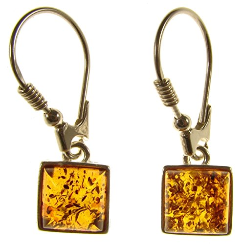 (BALTIC AMBER AND STERLING SILVER 925 DESIGNER COGNAC SQUARE EARRINGS JEWELLERY JEWELRY)