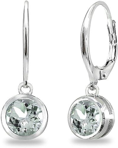 Sterling Silver Gemstone 6mm Round Dangle Leverback Earrings
