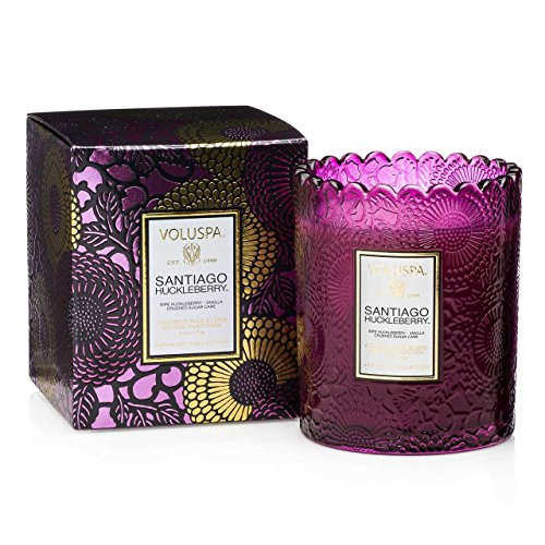 Voluspa Japonica 6oz Scalloped Edge Glass Candle Santiago Huckleberry Limited Edition ()
