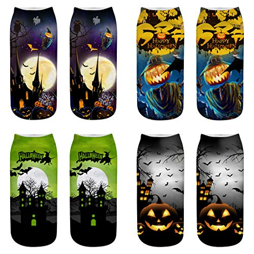 4 Paris Halloween Socks Single-sided Printing Ankle Socks for Costume Party Decoration