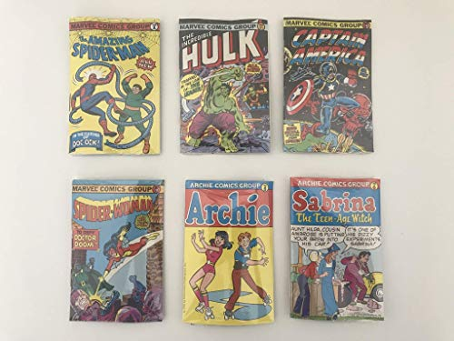 BUBBLE FUNNIES MINIATURE COMIC BOOK COLLECTION #1-6 COMPLETE SET SPIDER-MAN, HULK, ARCHIE, CAPTAIN AMERICA, SABRINA THE TEEN-AGE WITCH, SPIDER-WOMAN