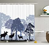 Ambesonne Moose Shower Curtain Set, Gray Forest Design Abstract Woods North American Wild Animals Deer Hare Elk Trees, Fabric Bathroom Decor with Hooks, 84 inches Extra Long, Lilac Cadet Blue Black